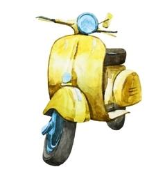 Watercolor vintage scooter vector image