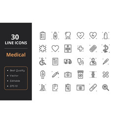 30 medical line icons vector image