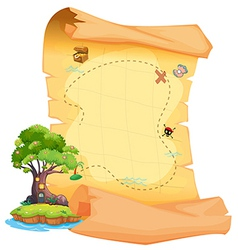 A treasure map with an island vector image vector image
