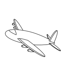 black line airplane icon image vector image