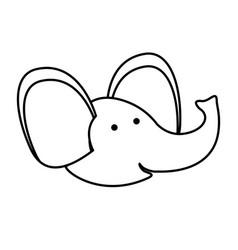 elephant cartoon head in monochrome silhouette vector image