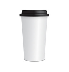 realistic paper coffee cup 3d coffee cup mock up vector image vector image