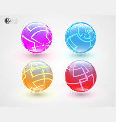 set of multicolored glass sphers vector image