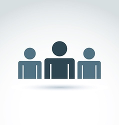 Three silhouettes of people facing forward vector image