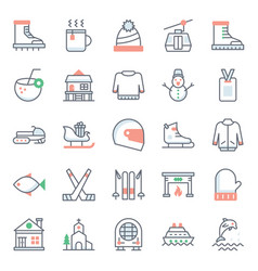 Adventure and hiking flat icons pack vector