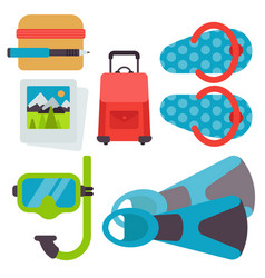 airport travel icons flat tourism suitcase vector image