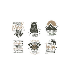 Alaska national park promo signs series vector