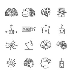 artificial intelligence robotics icons collection vector image