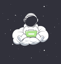 astronaut work in freelance on cloud vector image