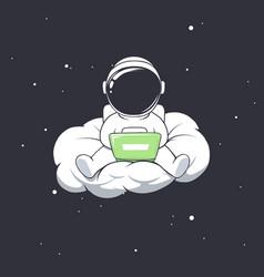 Astronaut work in freelance on cloud vector