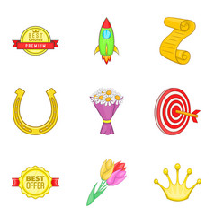 Award payment icons set cartoon style vector
