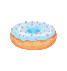 Baked donut with blue icing vector