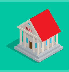 Bank building in ancient style isometric icon vector