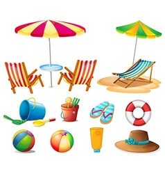 Beach objects and toys vector