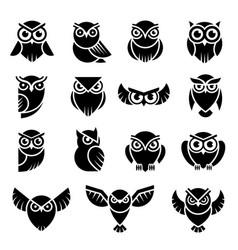 Bird logo wild owl knowledge symbols vector