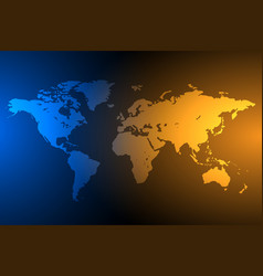 Blue and orange global map background vector