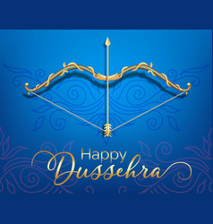 blue happy dussehra festival card with gold bow vector image