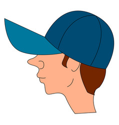 boy wearing a blue cap on white background vector image
