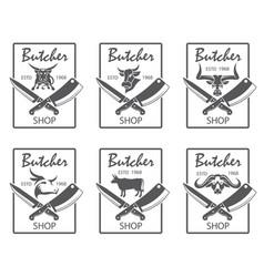 Butcher shop emblems set vector