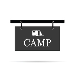 Camp sign with trailer vector