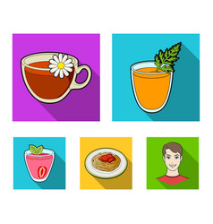 carrot juice in a glass chamomile tea in a cup vector image