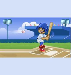 cartoon baseball player playing in stadium vector image