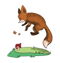 cartoon fox running through forest stylized vector image