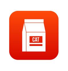Cat food bag icon digital red vector