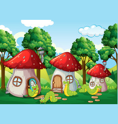 caterpillar at the mushroom house vector image