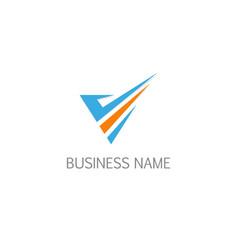 checklist v initial company logo vector image