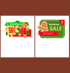 christmas sale gingerbread woman and bell cookies vector image