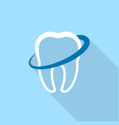 circle on tooth logo icon flat style vector image