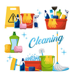 Cleaning elements set with brooms bucket mop spray vector