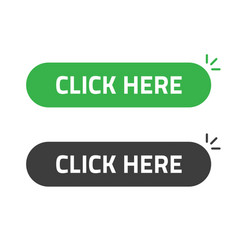 Click here button flat cartoon rounded vector