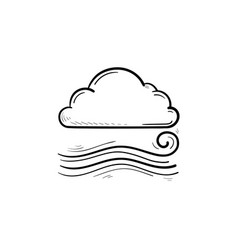 cloudy and the wind hand drawn outline doodle icon vector image