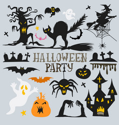 Collection halloween silhouettes icon and vector