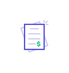 color invoice bill thin line logo vector image