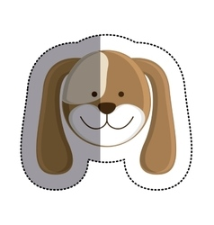 color sticker with dog head and middle shadow vector image