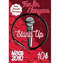Color vintage stand up comedy show poster vector