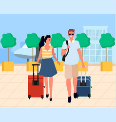Couple with luggage walking from airport vector