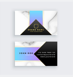Creative marble texture geometric business card vector