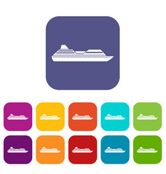 Cruise liner icons set vector