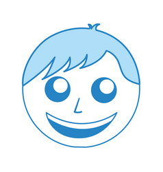 Cute blue man face cartoon vector