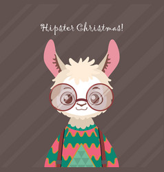 Cute hipster llama in ugly christmas sweater vector
