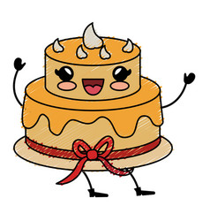 delicious cake celebration kawaii character vector image
