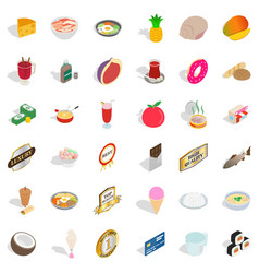 Diet nourishment icons set isometric style vector
