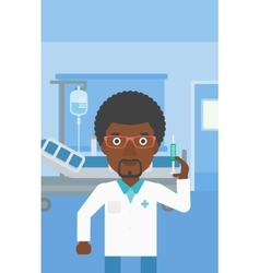Doctor with syringe in hospital ward vector