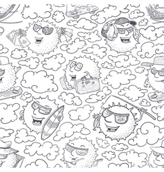 Doodle seamless pattern with sun vector