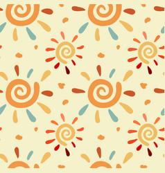 Doodle sun pattern vector