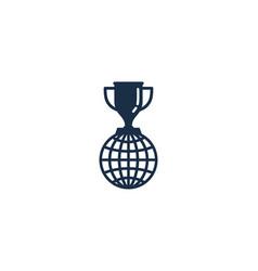 Earth trophy logo icon design vector